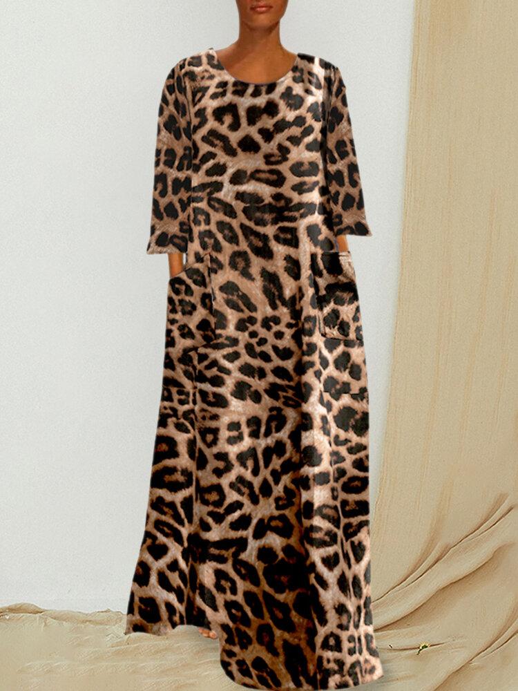Best Vintage Leopard Print Pockets Long Sleeve Loose Dress You Can Buy