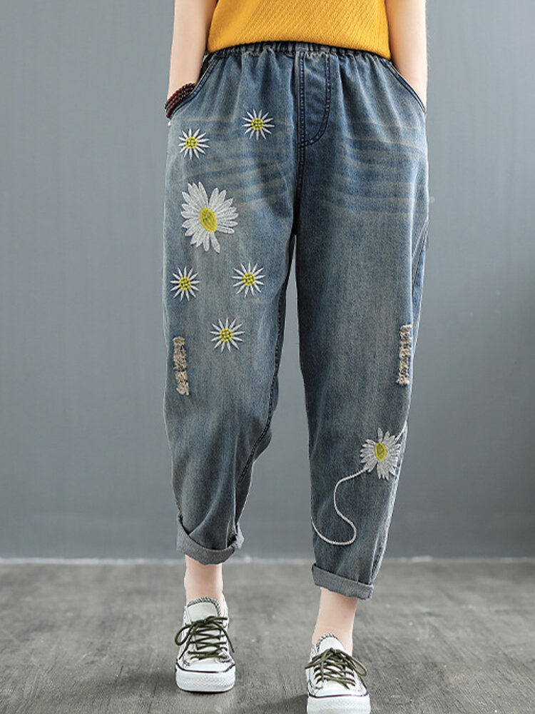 Best Daisy Floral Embroidery Elastic Waist Harem Denim With Pocket You Can Buy