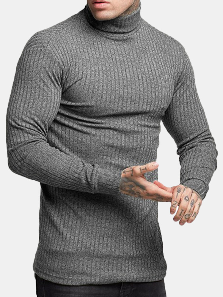 Best Men's Basic Brief Turtleneck Solid Color Slim Fit Knitted Casual Sweater You Can Buy