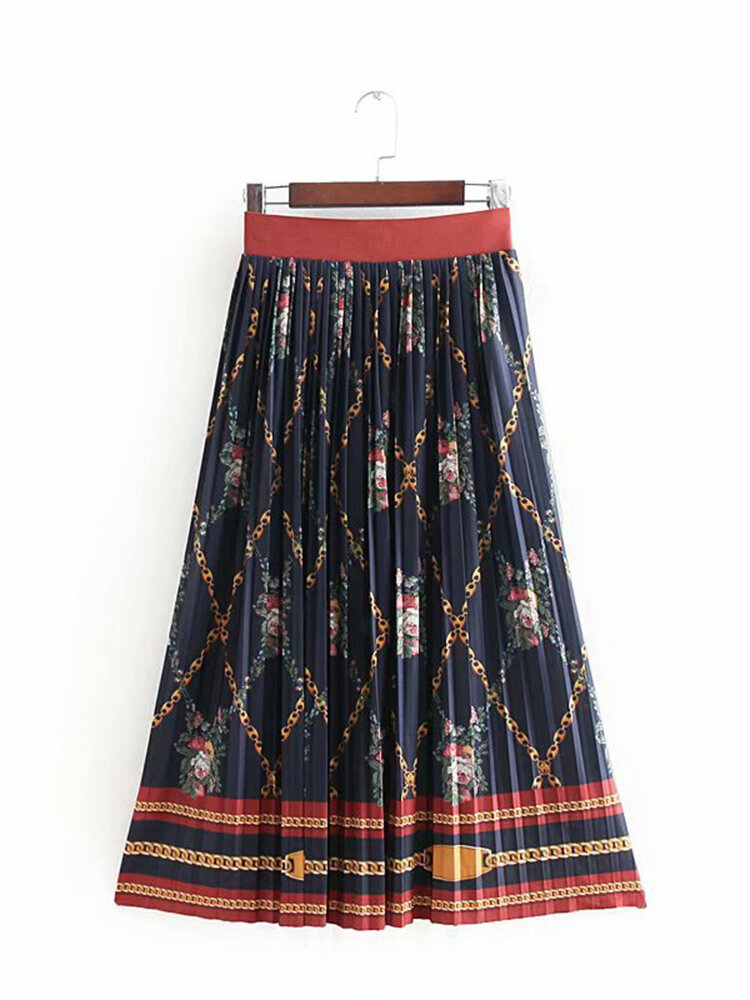 Best Women Vintage Ethnic Floral Print Pleated Elastic Waist Skirt You Can Buy