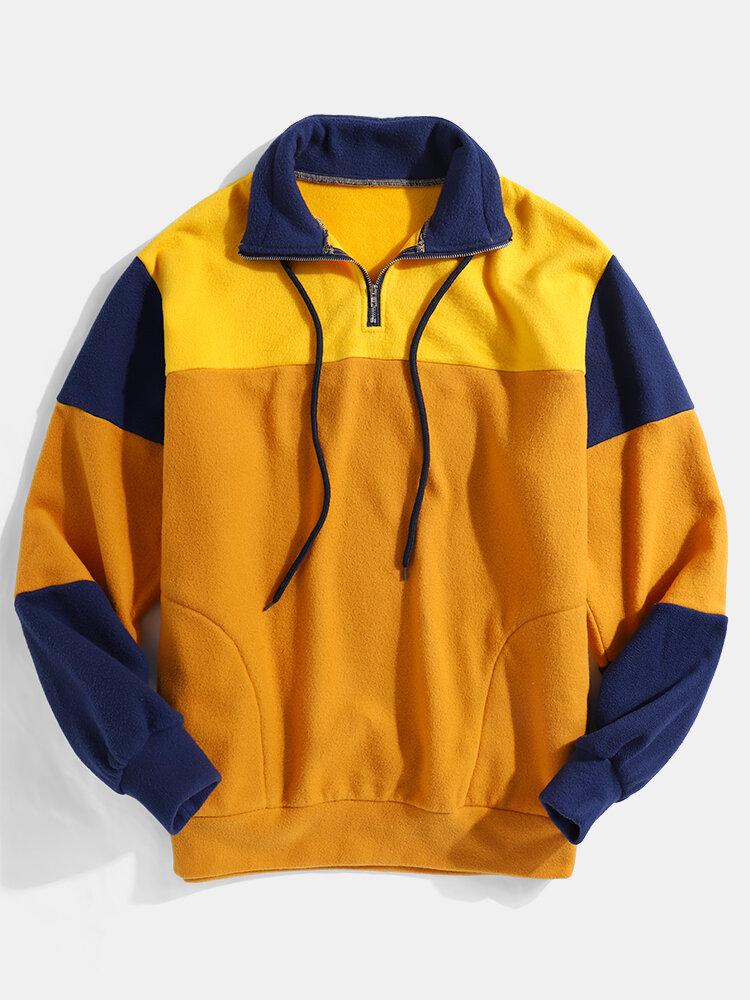 Best Mens Patchwork Polar Fleece Half Zipper Side Pocket Lapel Sweatshirts You Can Buy