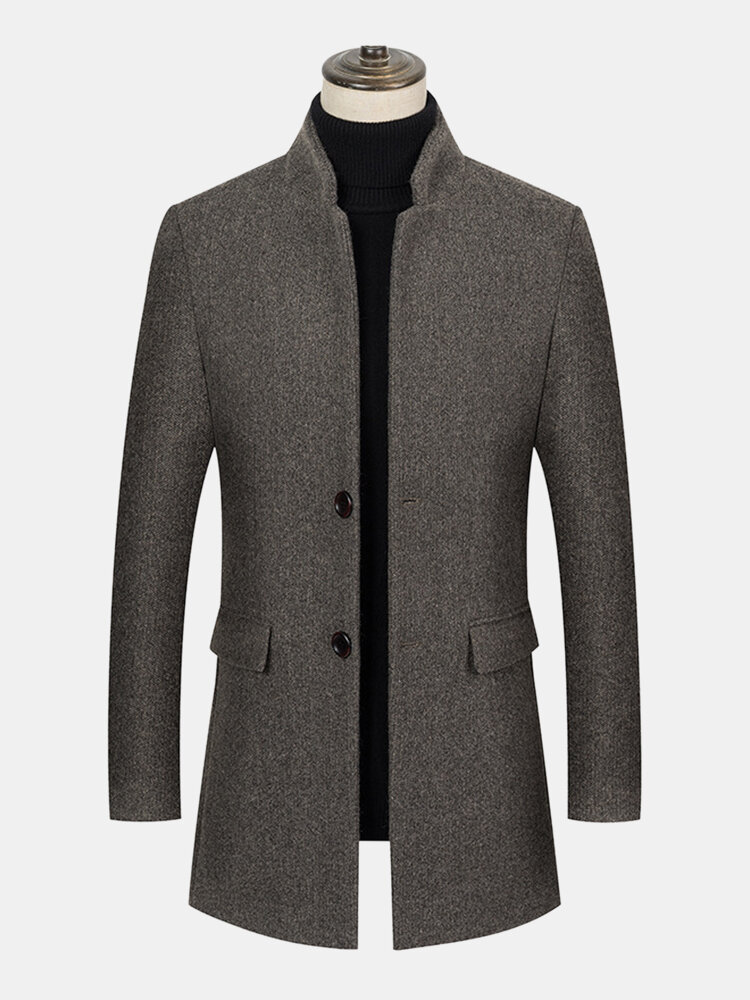 Best Mens Woolen Stand Collar Casual Mid-Length Overcoats With Flap Pockets You Can Buy