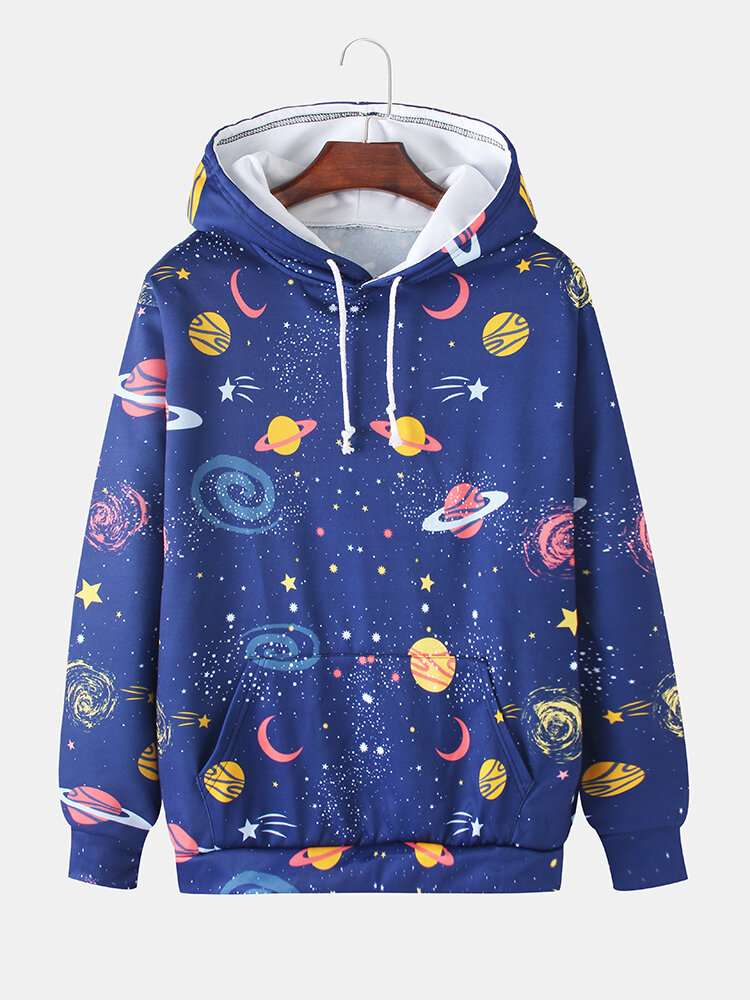 Best Mens Allover Space Pattern Print Loose Daily Drawstring Hoodies With Muff Pocket You Can Buy
