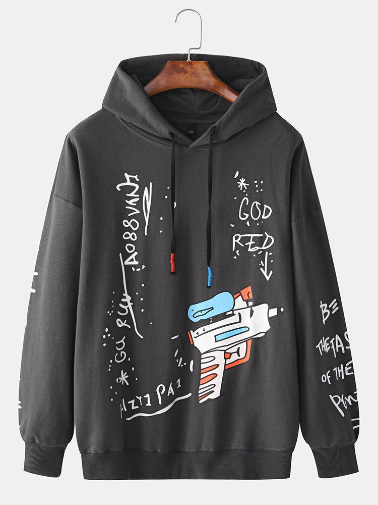 Best Mens Cotton Funny Cartoon Graffiti Doodle Script Printed Long Sleeve Hoodies You Can Buy