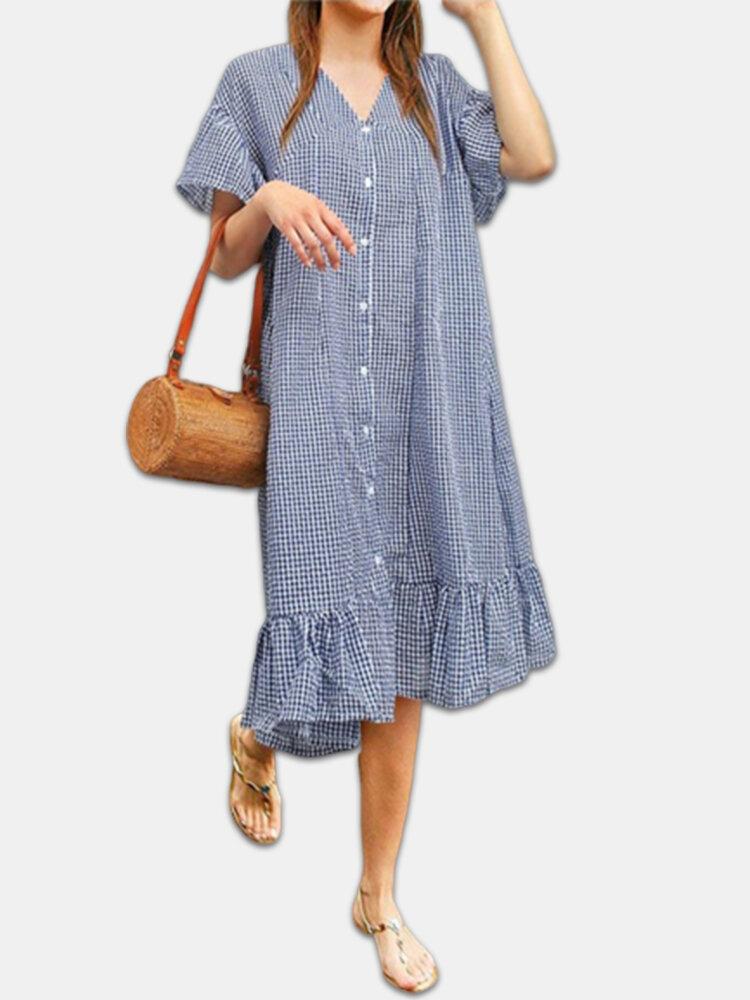 Best Plaid Print Ruffle Hem Short Sleeve Plus Size Dress You Can Buy