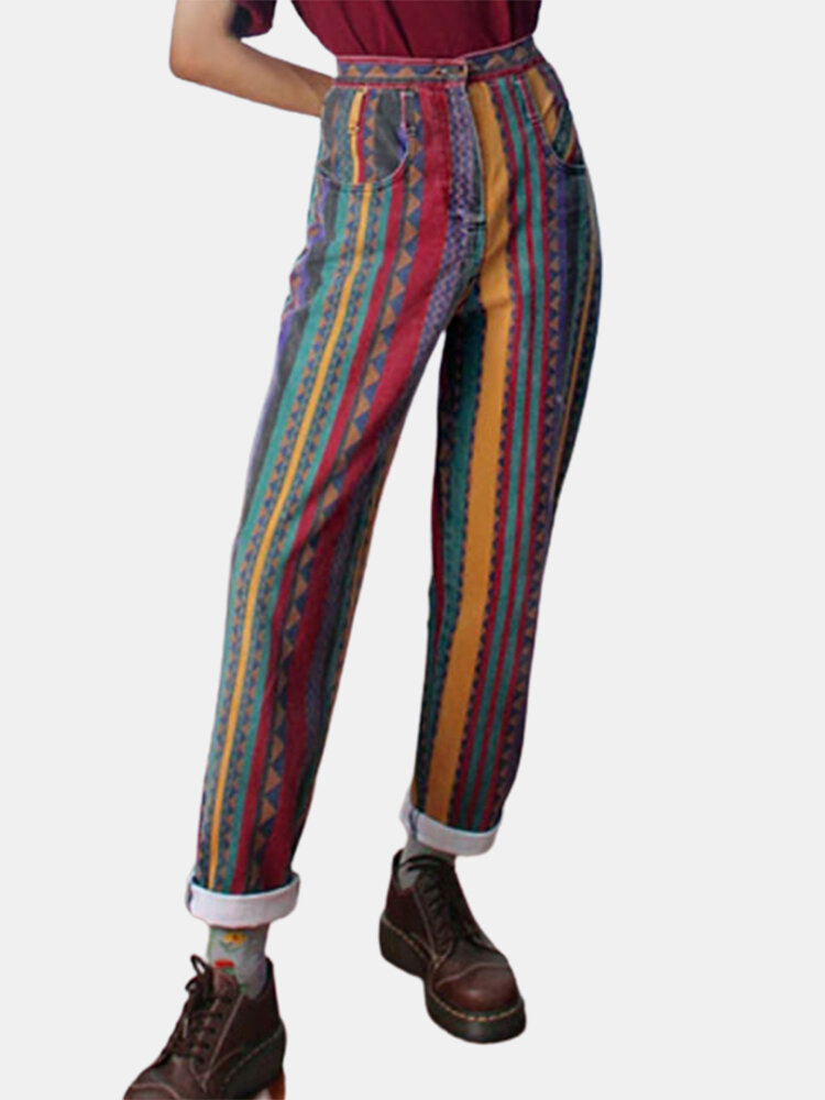 Best Vintage Striped Printed Casual Pocket Pants For Women You Can Buy