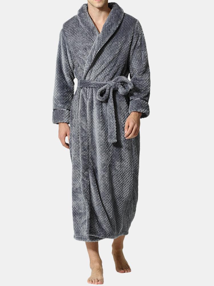 Best Home Soft Coral Fleece Belt Robes Long Sleeve Big Collar Bathrobes Lounge Pajamas You Can Buy
