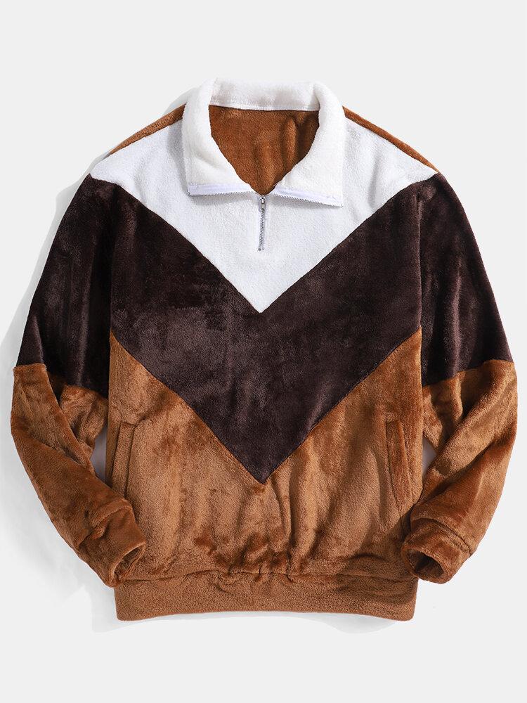 Best Mens Flannel Fluffy Patchwork Half Zipper Slant Pocket Lapel Sweatshirts You Can Buy
