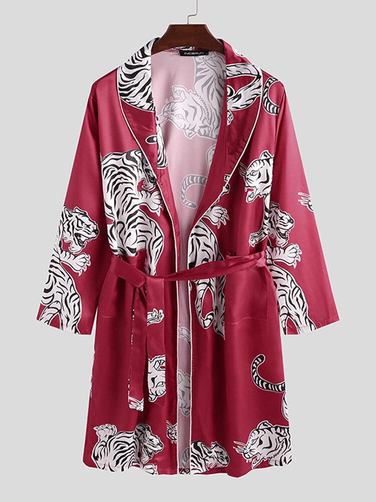 Best Mens Animal Tiger Print Affordable Silk Pajama Robe Shawl Collar Smooth Sleepwear You Can Buy