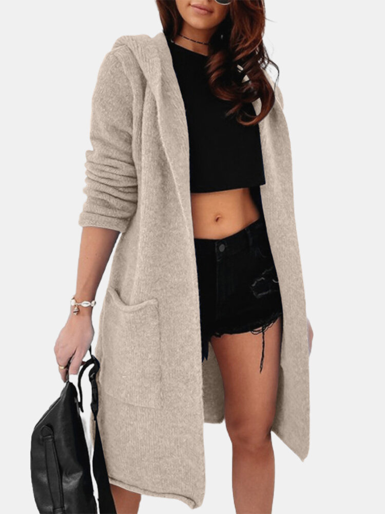 Best Hooded Solid Color Long Sleeve Casual Cardigan For Women You Can Buy