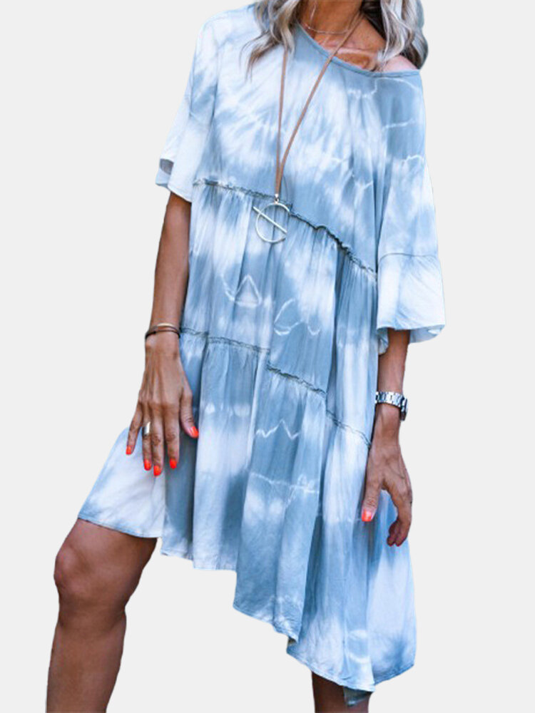 Best Tie-dyed Print Loose Half Sleeve Casual Dress For Women You Can Buy
