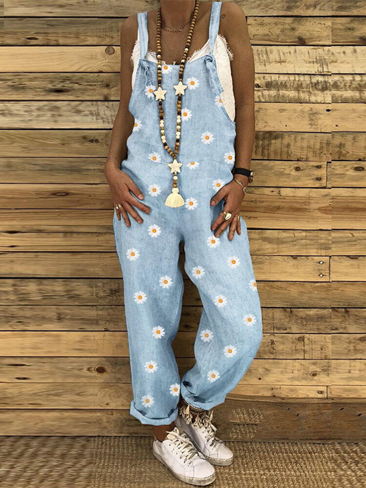 Best Daisy Print Adjustable Strap Casual Plus Size Jumpsuit You Can Buy