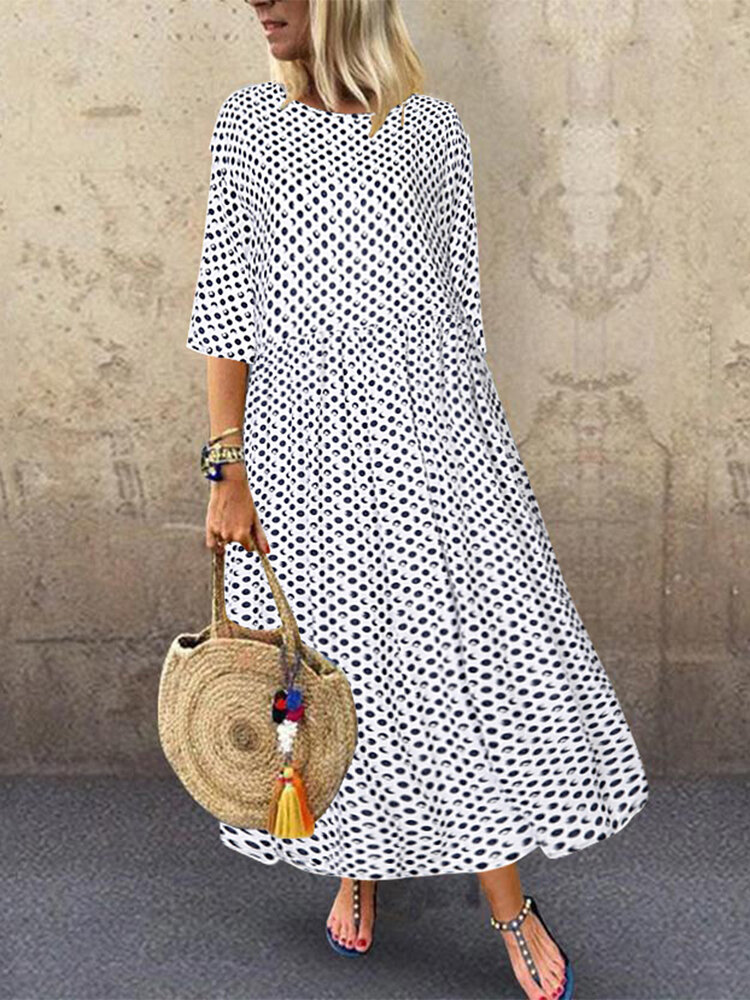 Best Polka Dot Print Empire Waist Plus Size A-line Dress You Can Buy