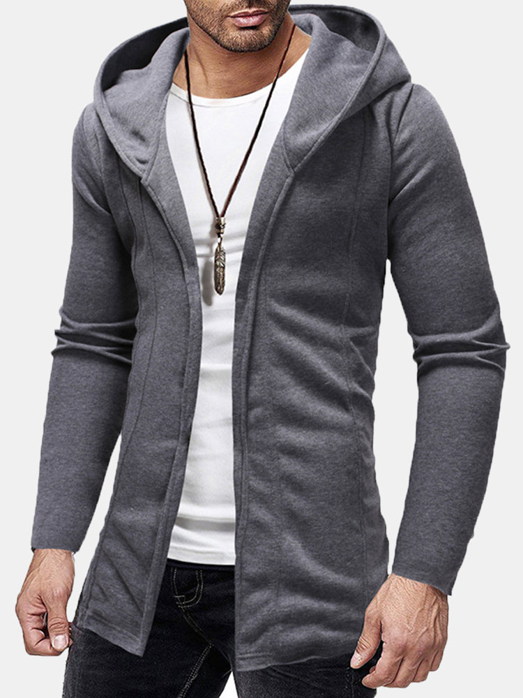 Best Men's Breathable Stitching Solid Color Long Sleeve Hooded Cardigan You Can Buy