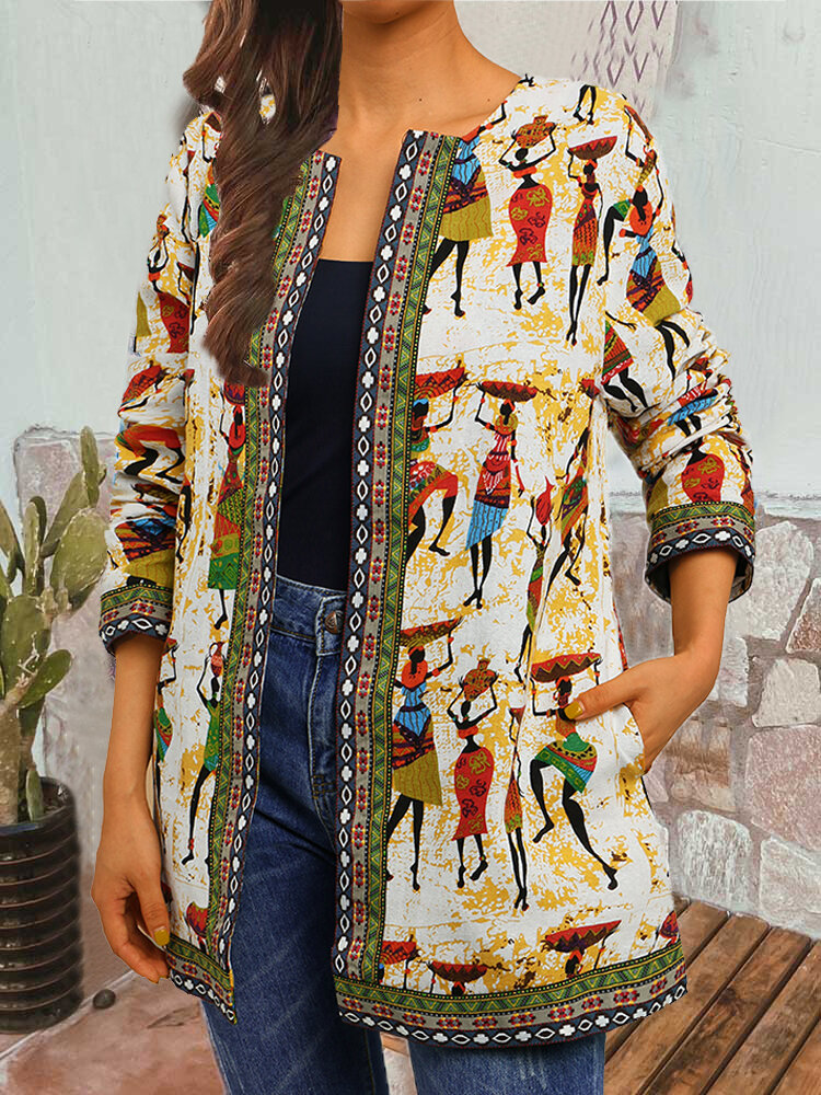 Best Vintage Print Webbing Patchwork Plus Size Jackets with Pockets You Can Buy