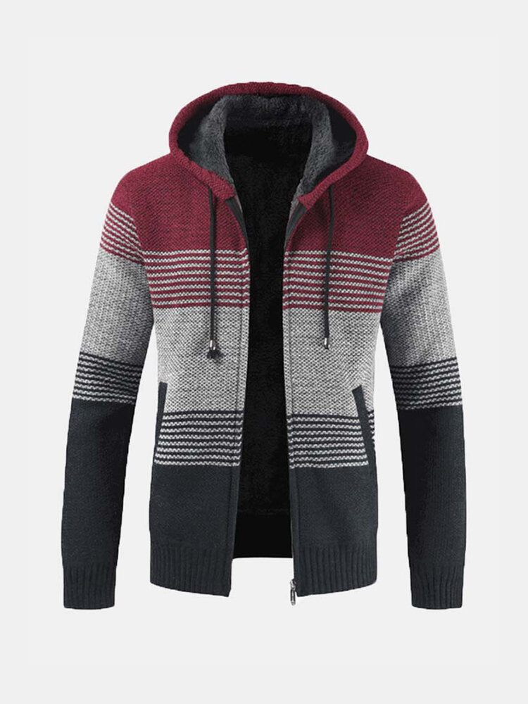 Best Mens Thick Velvet Fleece Thermal Knitting Hooded Color Matching Sweater You Can Buy