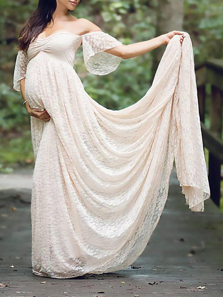 Best Fancy Lace Off Shoulder Pregnant Women Photography Maxi Dress You Can Buy
