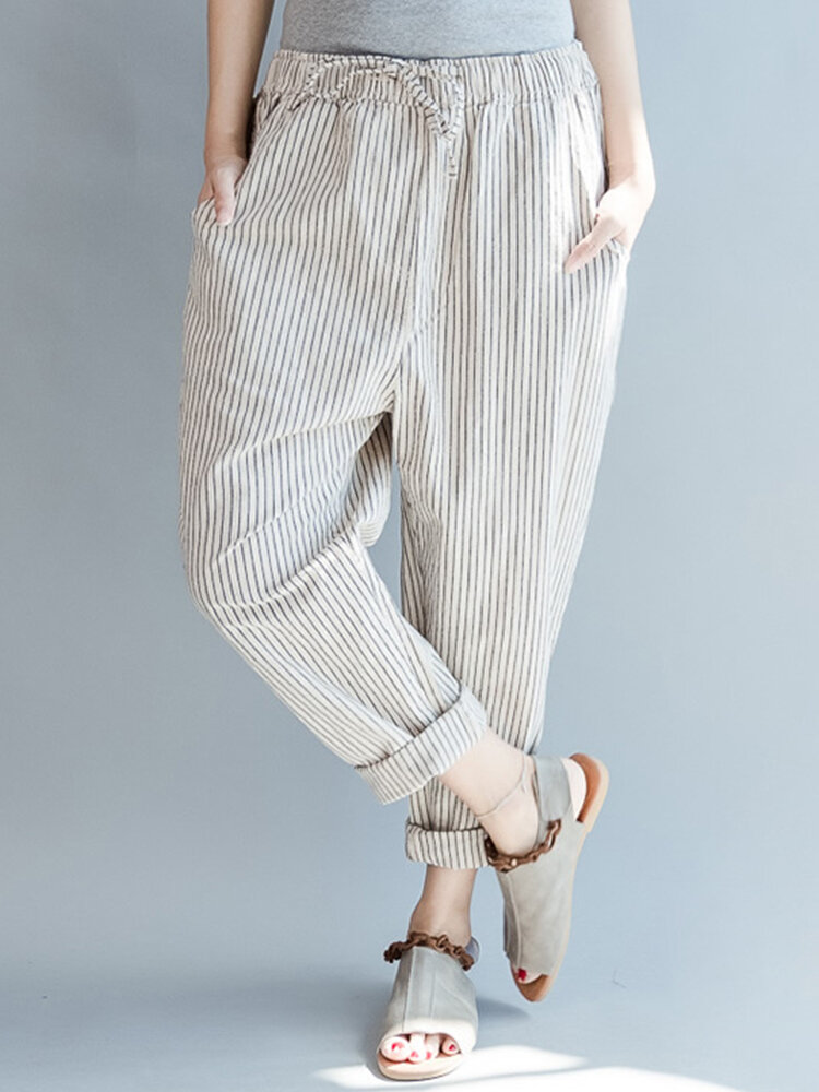 Best Loose Drawstring Waist Stripe Print Casual Harem Pants You Can Buy