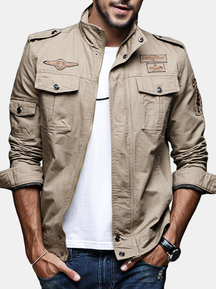 Best Mens Military Epaulets Casual Cotton Coat Badge Outdoor Pilot-jacket You Can Buy