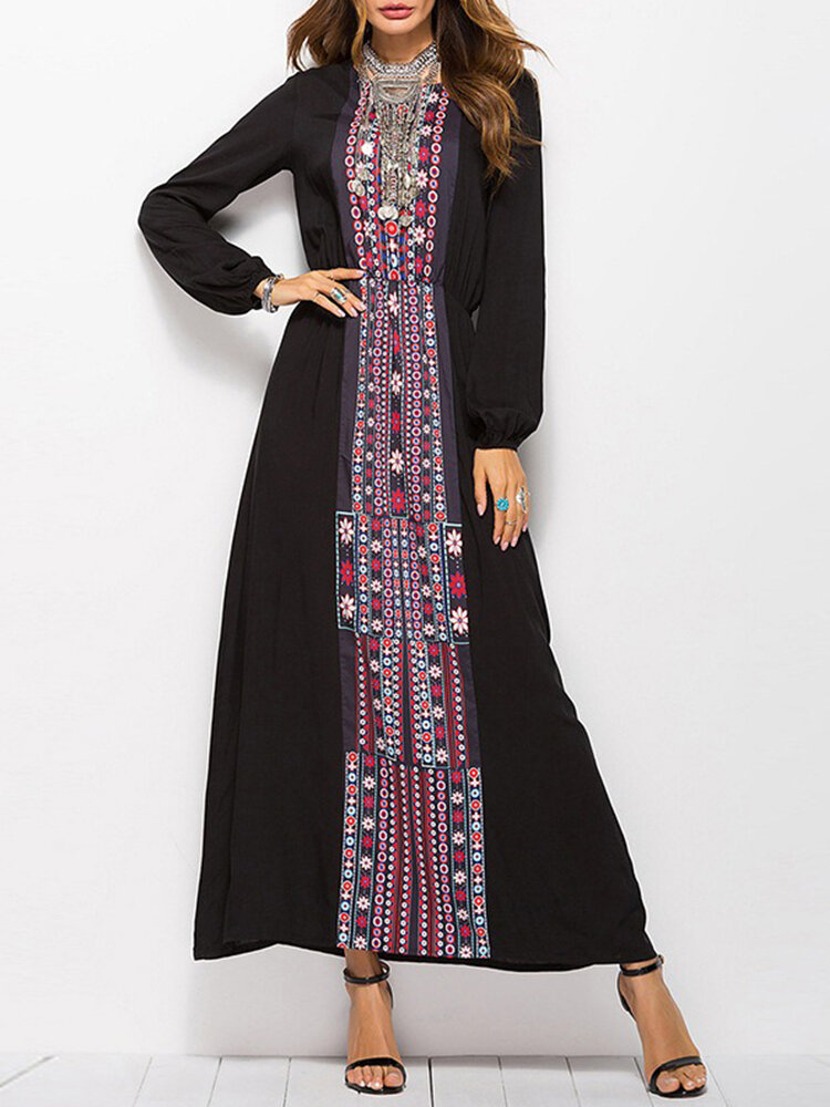 Best Vintage Print Crew Neck Long Sleeve Maxi Dress You Can Buy