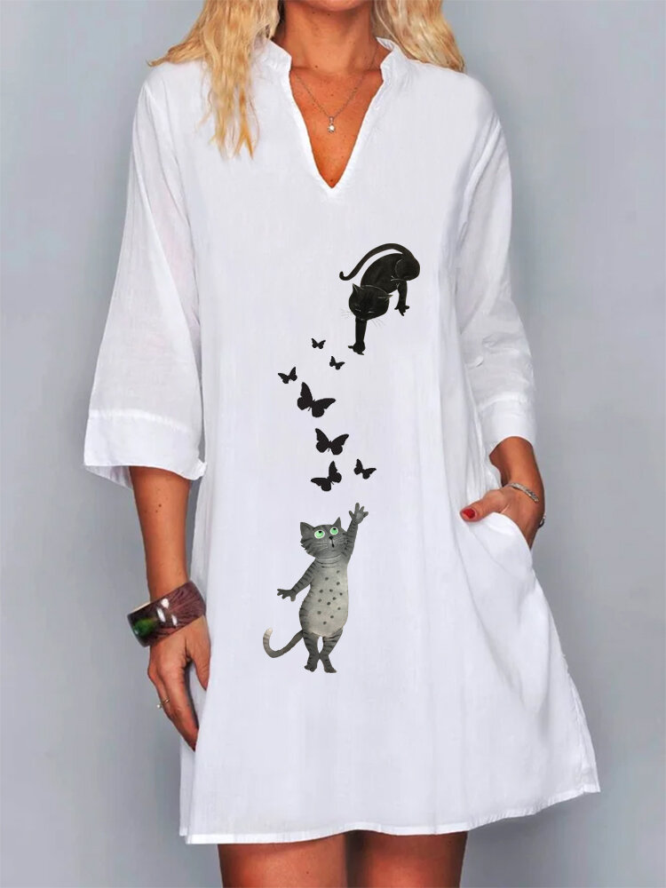 Best Cute Cat Butterflies Print Half Sleeve V-neck Plus Size Dress You Can Buy