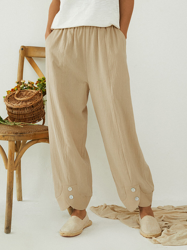 Best Solid Color Elastic Waist Button Loose Pants With Pocket You Can Buy