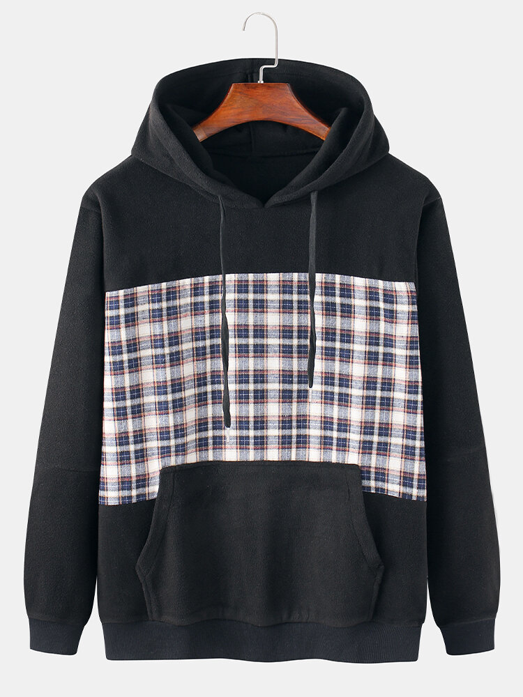 Best Mens Cotton Flocking Tartan Patchwork Casual Drawstring Hoodies With Pouch Pocket You Can Buy