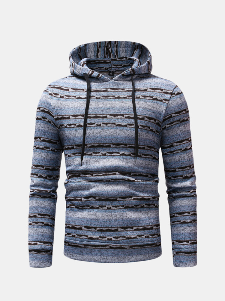 Best Mens Striped Hooded Drawstring Long Sleeve Slim Fit Casual Sweatshirt You Can Buy