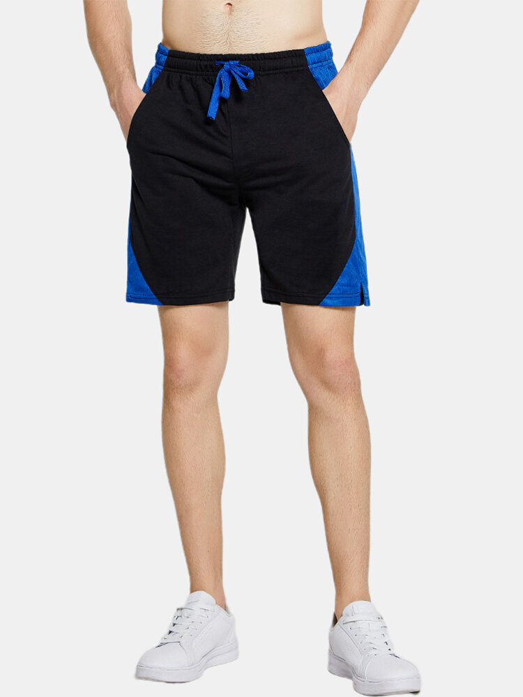 Best Mens Solid Color Patchwork Home Casual Drawstring Sports Straight Shorts You Can Buy