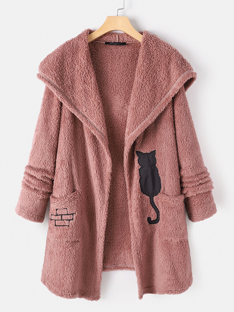 Best Black Cat Print Long Sleeve Plush Hooded Plus Size Coat You Can Buy