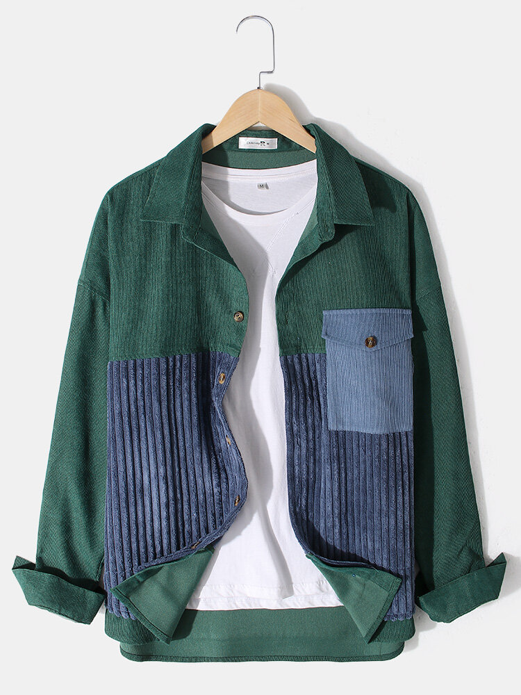 Best Mens Corduroy Vintage Stitching Lapel Jackets With Flap Pocket You Can Buy