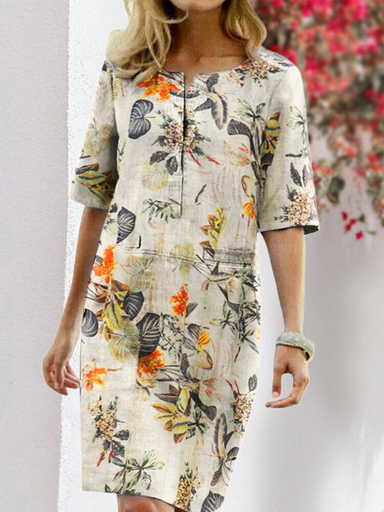 Best Floral Printed Split O-neck Half Sleeve Vintage Cotton Dress You Can Buy