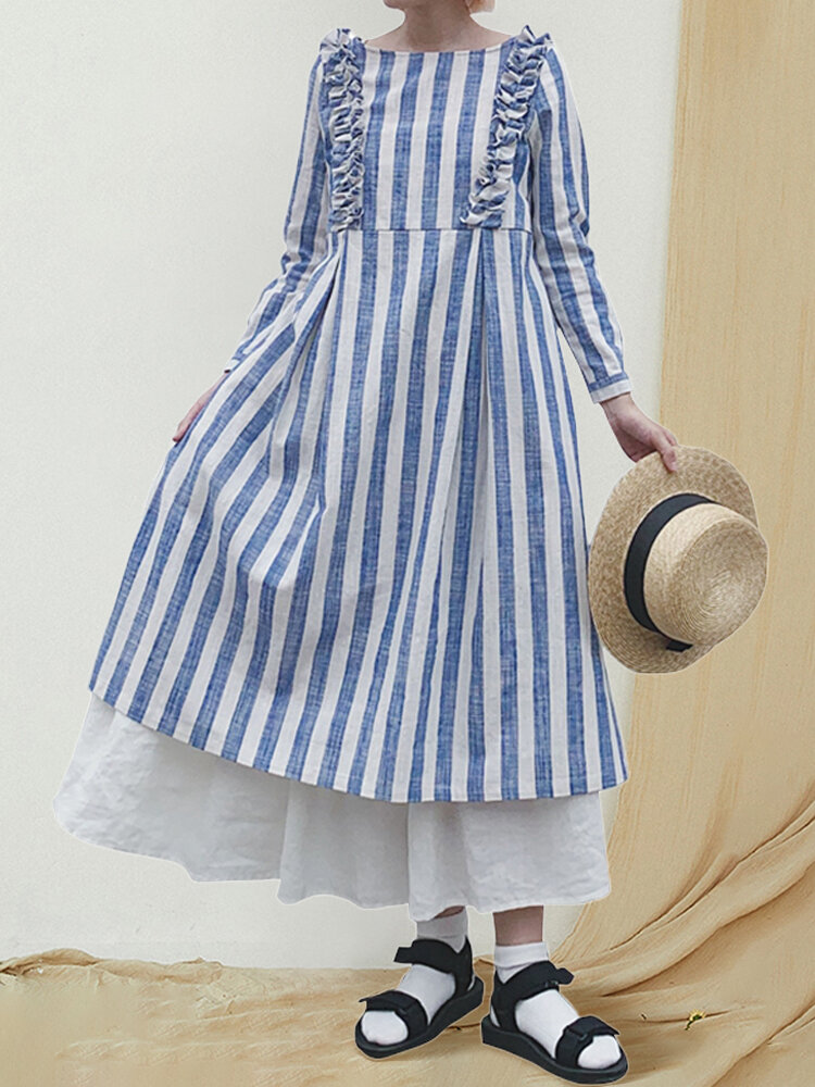 Best Striped Print Round Neck Ruffle Decoration Long Sleeve Casual Dress You Can Buy
