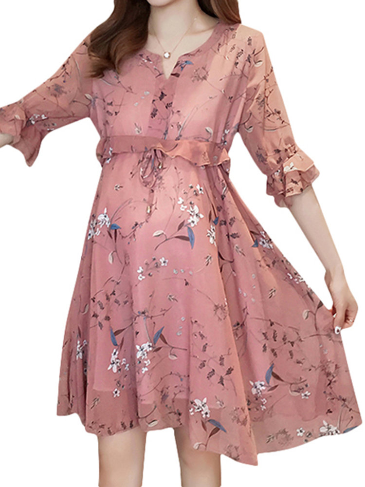 Best Summer Floral Ruffles Maternity Casual Dress Chiffon Stitching Pregnant Women Clothes You Can Buy