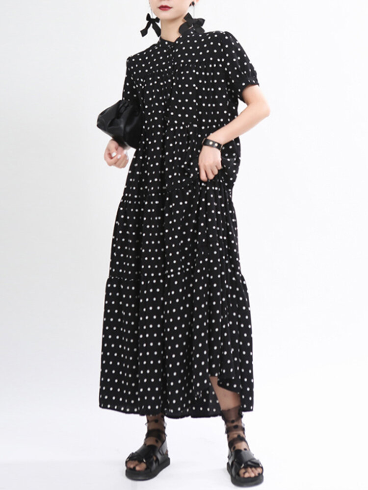Best Casual Polka Dot Print Stand Collar Short Sleeve Midi Dress You Can Buy