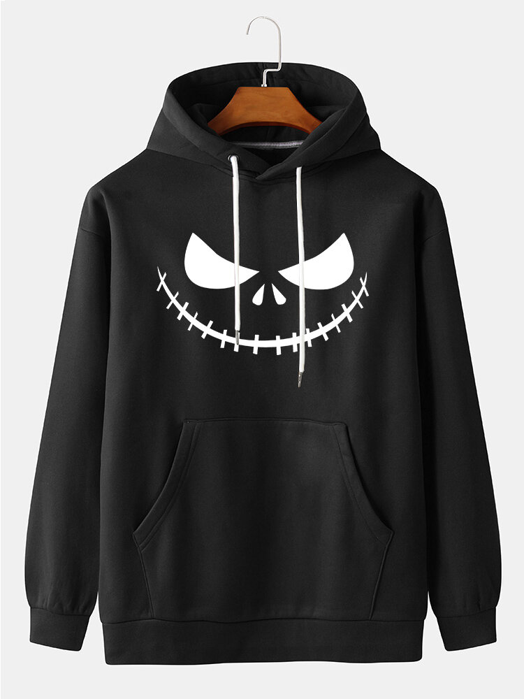 Best Mens Halloween Grimace Print Solid Pullover Hoodies With Kangaroo Pocket You Can Buy