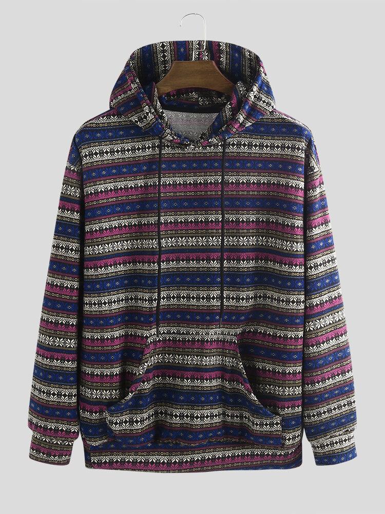 Best Mens Ethnic Pattern Print Knitted Kangaroo Pocket Hoodie You Can Buy