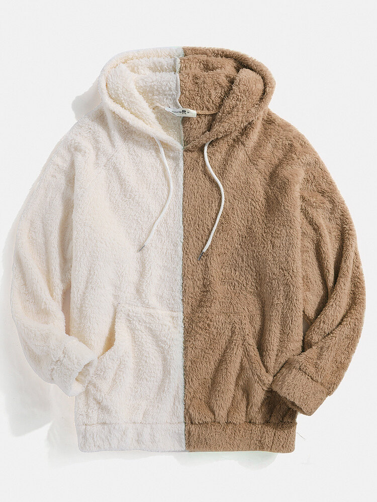 Best Mens Patchwork Fluffy Pouch Pocket Teddy Hoodie You Can Buy