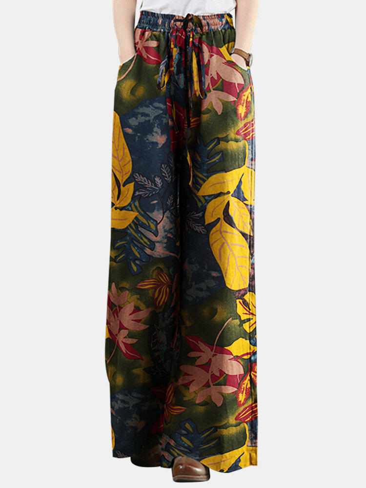 Best Leaf Printed Elastic Waist Straight-Legged Pants For Women You Can Buy