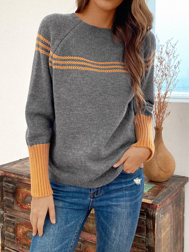 Best Contrast Color Long Sleeve O-neck Striped Sweater For Women You Can Buy