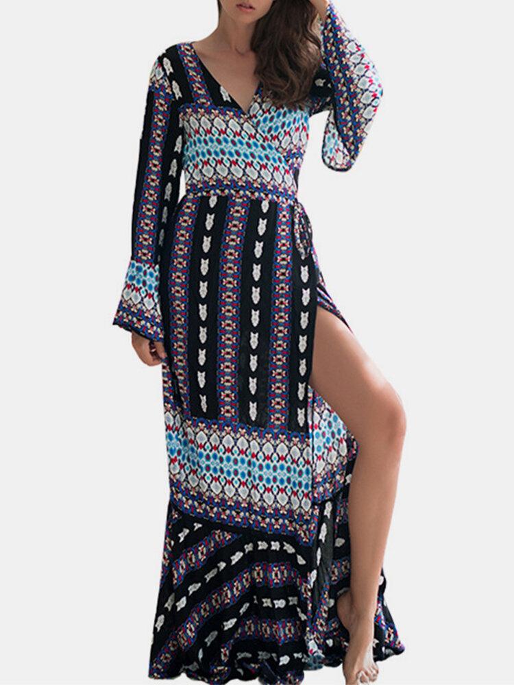 Best Bohemian Print Splited Long Sleeve Maxi Dress For Women You Can Buy