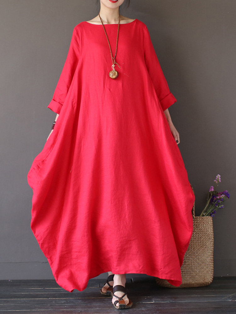 Best Vintage Women Solid 3/4 Sleeve Loose Maxi Dress For Women You Can Buy