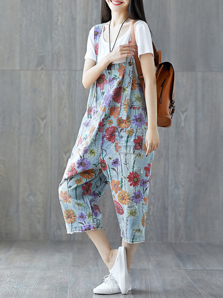 Best Vintage Flower Print Strap Denim Jumpsuit With Pockets You Can Buy