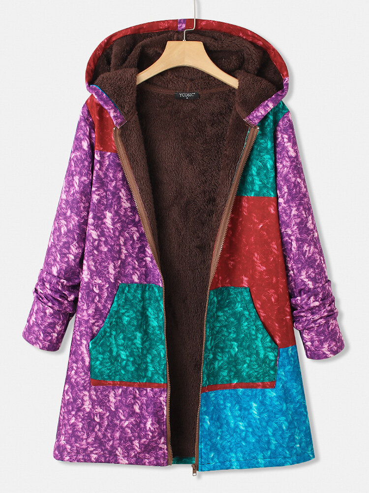 Best Colorful Printed Patchwork Long Sleeve Zipper Coat With Pocket You Can Buy