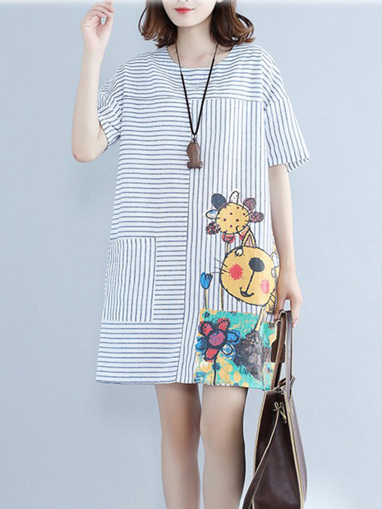 Best Casual Striped Cartoon Print Short Sleeve Dress You Can Buy