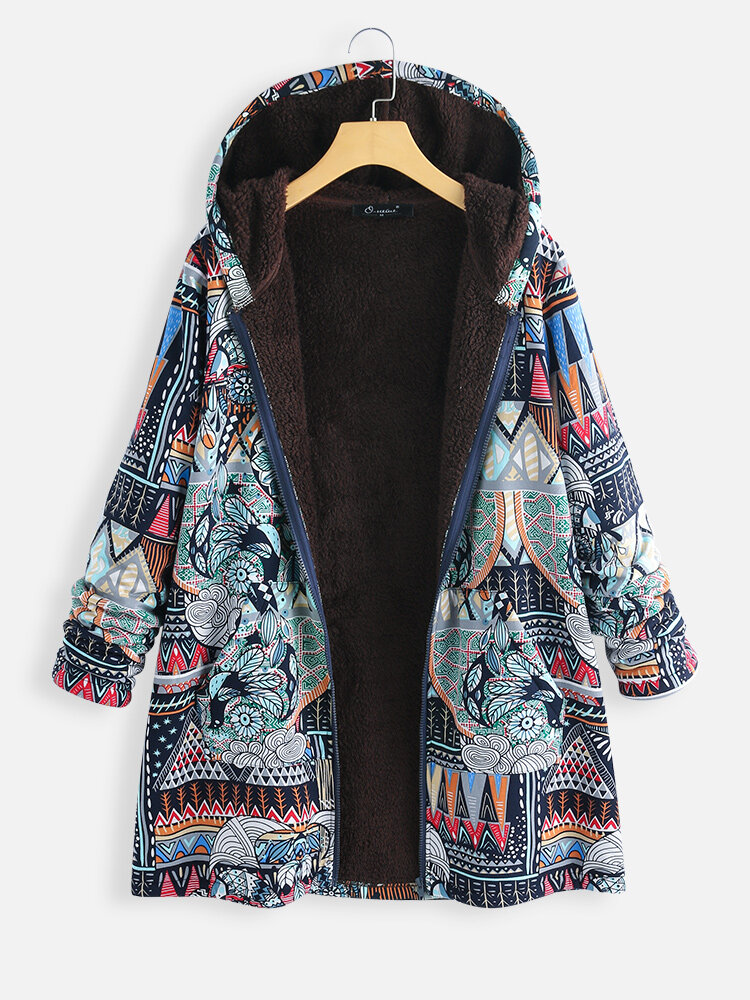 Best Ethnic Style Print Long Sleeve Floral Hooded Plus Size Coat You Can Buy