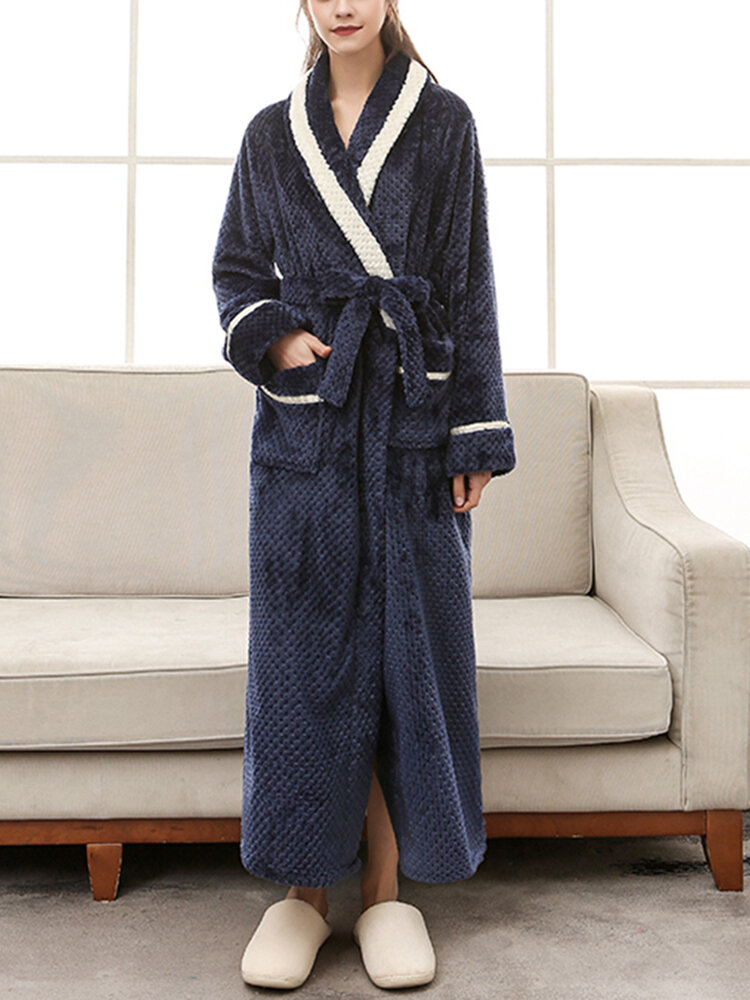 Best Women Contrast Patchwork Long Sleeve Thicken Warm Belted Robes With Pockets You Can Buy