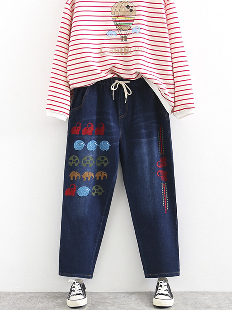 Best Casual Embroidery Elastic Waist Denim Pants for Women You Can Buy