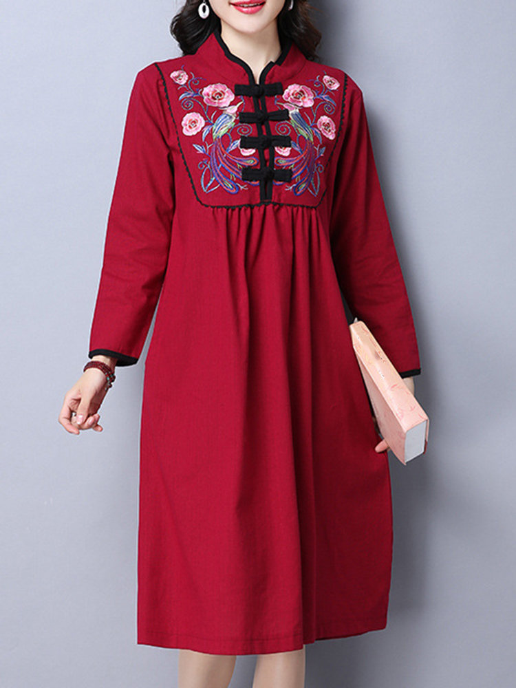 Best Tribal Style Women Embroidery Stand Collar Chinese Frog Dress You Can Buy