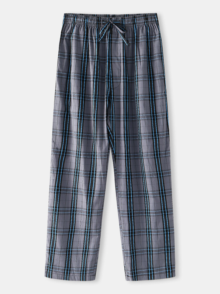 Best Casual Breathable Blue Plaid Home Drawstring Button Crotch Pajamas Pants With Pockets You Can Buy
